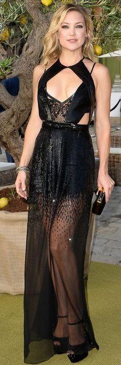 Kate Hudson in a  cut-out black sheer Julien Macdonald Gown