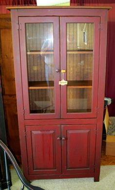 Charming Red Curio Cabinet