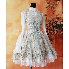 Sleeveless Knee-length Floral Cotton Sweet Lolita Dress $59 blue, (only goes up to L, would need XL or XXL)