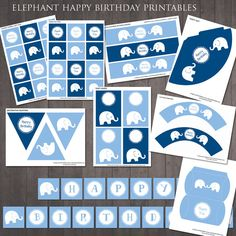 Elephant Birthday Party Decorations - PRINTABLE Party Pack via Etsy