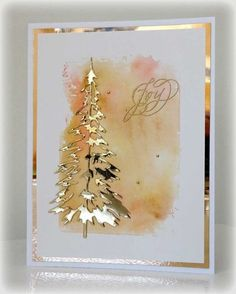 handmade Christmas card … gold Shimmer Sheetz die cut tree and mat … waterco… – Christmas DIY Holiday Cards Creative Christmas Cards, Homemade Christmas Cards, Christmas Cards To Make, Noel Christmas, Xmas Cards, Creative Cards, Homemade Cards, Holiday Cards, Diy Cards