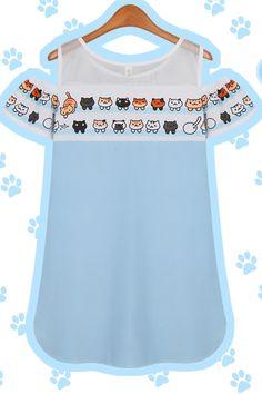 S/M/L Blue [Neko Atsume] Cute Kitty Shoulder-off Tee Shirt SP153160 – SpreePicky