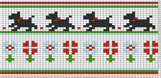Tricksy Knitter Charts: Chasing Daisy copy copy copy by Fair Isle Knitting Patterns, Knitting Charts, Knitting Stitches, Knitting Designs, Cross Stitch Borders, Cross Stitch Designs, Cross Stitch Patterns, Loom Animals, Little Cotton Rabbits