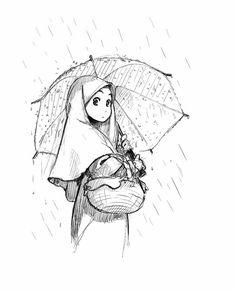 Manga Girl With Umbrella in the Rain Collage Drawing, Art Drawings, Drawing Drawing, Hijab Drawing, Mouth Drawing, Islamic Cartoon, Hijab Cartoon, Cute Cartoon Girl, Manga Girl