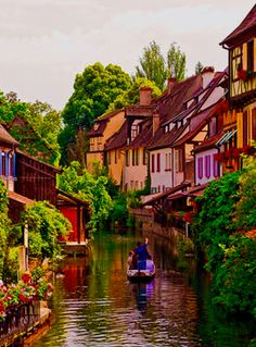 "Joseph Abhar - Colmar , Alsace, France capital of Alsatian wine, known for its quaint canals and as ""Little Venice"", with Cobblestone street."