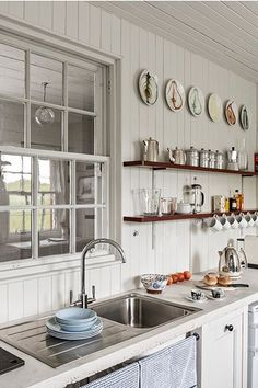Scottish Coastal Cottage on the water's edge. Kitchen sink with internal window to give sea view. Beach Cottage Style, Coastal Cottage, Coastal Homes, Beach House Decor, Maine Cottage, Cozy Cottage, Beach House Kitchens, Cottage Kitchens, Home Kitchens