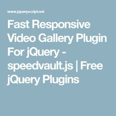 Fast Responsive Video Gallery Plugin For jQuery - speedvault.js | Free jQuery Plugins