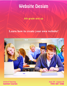 ake advantage of those extra summer hours with our interactive Website Design class! Sign up today (949) 681-0388! #summerprep #summerclasses #summertime #OxfordTutoring