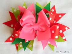 Pink red green girls hair bow Christmas by PoshPrincessBows1. , via Etsy.