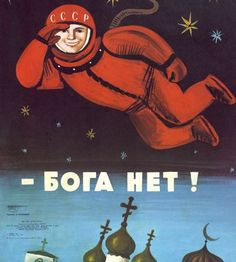 """There is no god"" - Anti-religious Soviet Propaganda poster. Someone should show this to Putin, now."