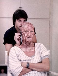 A rare shot of one of the first make-up tests for Freddy Krueger in the original Nightmare On Elm Street, viahorrormoviefreak.