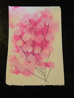 Spring Blossom Painting--gives me an idea to have each of the kids make a tree (leaves with fingerprints) for a season--4 kids, 4 season :) Could do on canvas and hang up in the playroom :)