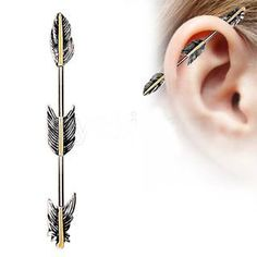 Now available in our store: 316L Stainless St... Check it out here! http://fashionhutjewelry.com/products/316l-stainless-steel-industrial-barbell-with-golden-triple-tier-feathers?utm_campaign=social_autopilot&utm_source=pin&utm_medium=pin