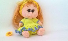 Knitted Doll Plush Doll Hand Knit Doll Knitted Girl Gift of