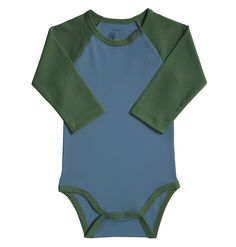 JAMES: Primary Baseball Babysuit (Slate Blue, Cherry, or Navy, 6-9 months) $12