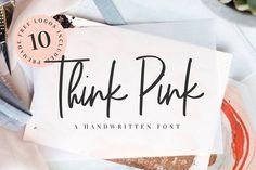 Think Pink Handwritten Font & Logos by VladCristea on @creativemarket