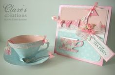 Clare's creations: Tea Party Invitation & Paper Teacup (Template from Waltzing Mouse Stamps)