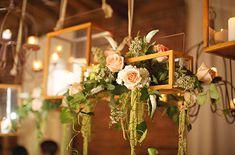 hanging lanterns // florals + candles