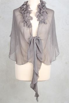 Georgette Cape with Flowers in Pewter - Out Of Xile