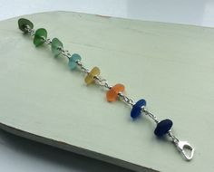 Rainbow Sea Glass Sterling Silver Bracelet by SeahamWaves on Etsy, £48.00
