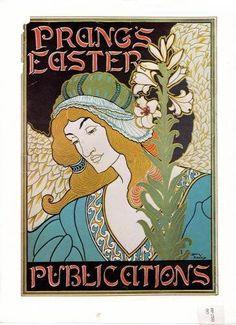 Reproduction Art Nouveau Prang's Easter Publications Advertisment Print For Framing - £10 free P&P