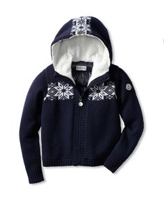Moncler Kid's Fairlisle Zip Sweater (Blue Marine) Warm zip-front features fleece-back front sweater and back quilted panel, attached hood SweaterKids