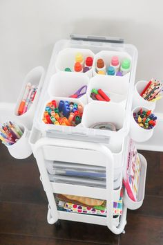 How to Make an Art Cart for Toddlers or Kids - Home of Malon.-How to Make an Art Cart for Toddlers or Kids – Home of Malones - Kids Crafts, Arts And Crafts For Teens, Art And Craft Videos, Art For Kids, Kids Art Area, Quick Crafts, Kids Art Space, Kids Craft Storage, Arts And Crafts Storage