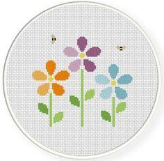 cross stitch flower | Bunch Of Flowers Cross Stitch Illustration