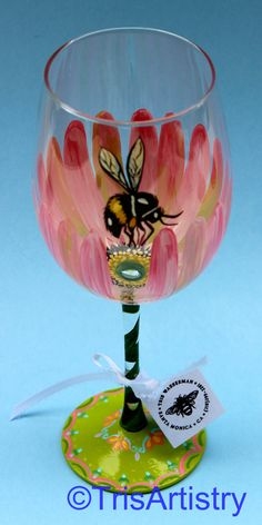 Hand Painted Pale Pink Gerbera Daisy Wine Glass with Bee https://www.etsy.com/listing/176988535/hand-painted-pale-pink-gerbera-daisy