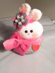 Soft Pink Valentine's Day Sock  Bunny.  46 by MooreDesignsbyJulie, $8.00