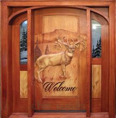 Carved Doors Wooden Ideas Wood Doors Are Warm and Welcoming Carved Doors Wooden Ideas. Custom wood doors, whether elegant or rustic, are a durable choice that can really set off the style of your h… Cool Doors, Unique Doors, Rustic Doors, Wooden Doors, Rustic Entry, Rustic Exterior, Art Sculpture, Timber House, Log Cabin Homes