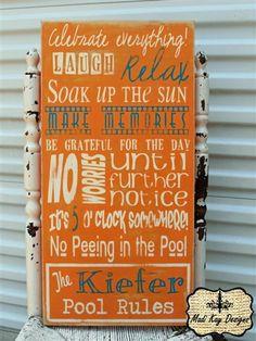 Custom Pool Sign, Vintage  Pool Rules Sign-Kiefer