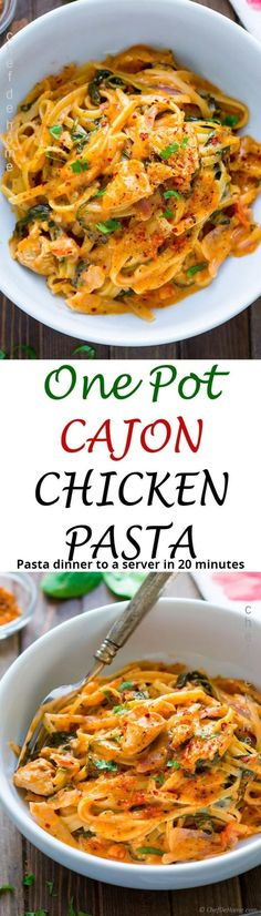 Bold and spicy cajon Chicken and Spaghetti pasta with spinach, herbs, and creamy sauce all prepared in one pot!20 minutes and one pot! Chicken and Pasta dinner can't get easier than this! Easy Chicken Dinner Recipes, Chicken Pasta Recipes, Easy Pasta Recipes, Spaghetti Recipes, Spicy Recipes, New Recipes, Vegetarian Recipes, Cooking Recipes, Healthy Recipes