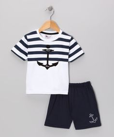 Take a look at this Navy Anchor Stripe Tee & Shorts - Infant & Toddler by Abentiny on #zulily today!