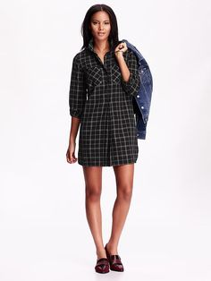 Too cute with booties and leggings and a floppy hat!  Thank you ON!! Women's Plaid Shirtdress
