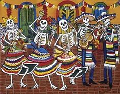 This painting represents the Mexican traditional day called the day of the dead. Most art is based on this day. Unlike in Muslim culture art which is mostly designs and plain colors like dark blue, grey and light brown. Mexican art is loud like the colors used but it also has meaning to a certain traditional day.