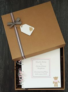 "Christening guest book, teddy design, other colours available  - 8""x8"" personalised handmade scrapbook in gift box"
