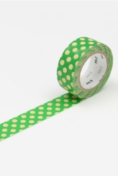 NEW RELEASE WASHI AT NOTEMAKER.COM.AU - MT Japanese Masking Tape - Single Roll - Fabric - Dot Green and Cream - $7.95