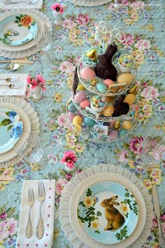 An Easter Celebration and Table with Bunnies, Eggs, Birds and Blooms!   homeiswheretheboatis.net #spring #tablescape