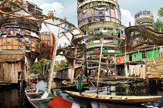 Artist imagines colossal vertical slums in Lagos