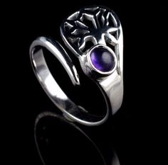 NATURAL AMETHYST GEMSTONE RING SIZE US 6.5 925 STERLING SILVER KJR44 #Unbranded