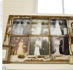 vintage photographs in an old window.  Great for a wedding to have parent's and grandparent's photos on display.
