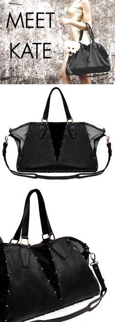 Meet Kate! This Designer Dog Carrier offers a sleek, sophisticated design that is sure to look striking with any outfit. Your dog will love the vented sides and comfortable interior. Don't compromise on style - carry your pup with you everywhere you go! Find Kate at felixchien.com