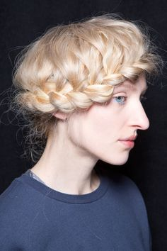 Braid fanatics, this one's for you. Shelve your typical milkmaid plait for one that lies across your forehead. This style even works on gals with shorter strands.
