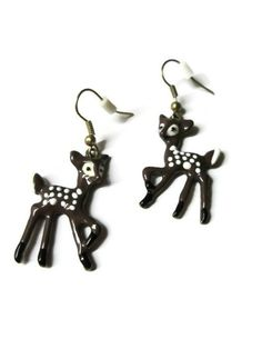 #deer #fawn #earrings #animal #bohemian #jewelry #woodland #cute #kawaii Deer Fawn Earrings, Animal Jewelry, Choice of Gold Or Black Nickel Free Ear Wires $10.00