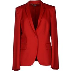 Stella Mccartney Blazer ($475) ❤ liked on Polyvore featuring outerwear, jackets, blazers, coats & jackets, red, wool collar jacket, lapel jacket, red wool blazer, red blazer and red jacket