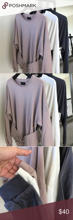 Corset Sweatshirt Reposh from @kristen8k. Description above. Taupe color.  Size: M.  BNWOT, never worn. Tops