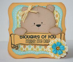 I scrap my way: November adorable button bear. Baby Scrapbook, Scrapbook Cards, Bear Card, Photo Album Scrapbooking, Marianne Design, Animal Cards, Kids Cards, Paper Piecing, Decor Crafts