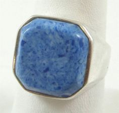 Vintage 925 Sterling Silver Unique Sodalite Square Ring Size 6 (7.6g) - 369126 in Jewelry & Watches, Jewelry & Watches | eBay