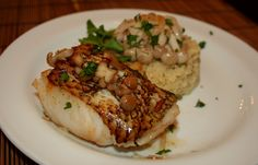 Oven roasted Sea bass with wild mushrooms